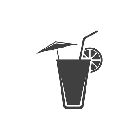 Icon of a summer cocktail on the beach with an umbrella, a straw and a slice of lemon. Vector on white background.