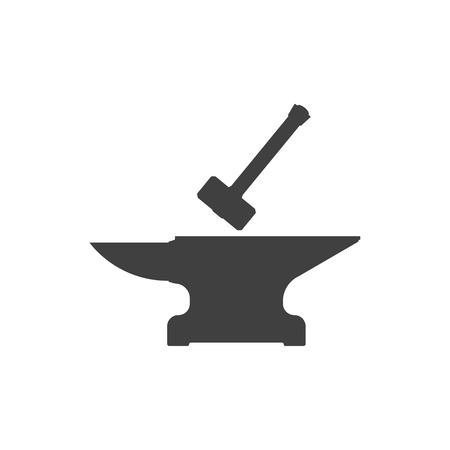 Icon of anvil and sledge hammer. Vector on white background.