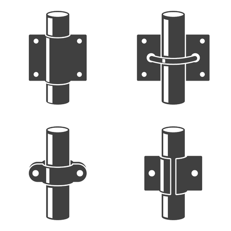 Set of four icons - different types of pipe fastening to vertical and horizontal surfaces. Vector on white background. Çizim
