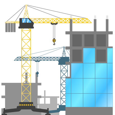 Construction site with tower cranes and buildings under construction. Vector illustration of the construction of houses