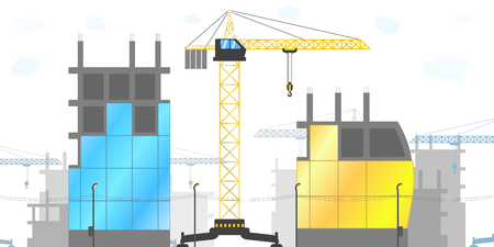 Panorama of the construction site with tower cranes and various buildings under construction. Vector illustration of the construction of houses