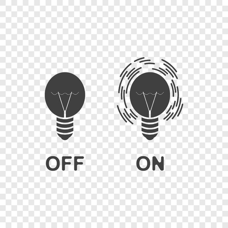 Icons of the switched on and off light. Vector on a transparent background. Ilustração