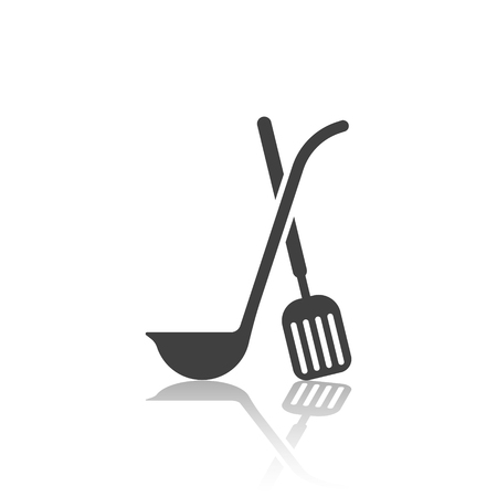 Icon of the crossed ladle and scapula with mirror image. Vector illustration on white background