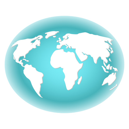 Abstract image of the earth with white continents with backlighting the turquoise color of the background. Vector illustration on white background