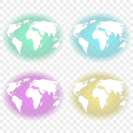 Abstract image of the earth with white continents with transparent backlighting of turquoise, green, feulette and yellow background colors. Vector illustration on a transparent background Ilustrace