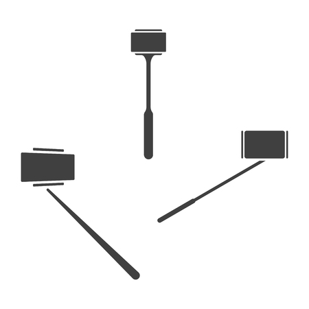 Icons of Selfie stick. Vector on white background 일러스트