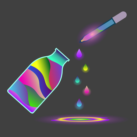 Abstract drawing of a jar with multi-colored paint and a pipette shedding paint on the surface. Vector illustration on a gray background