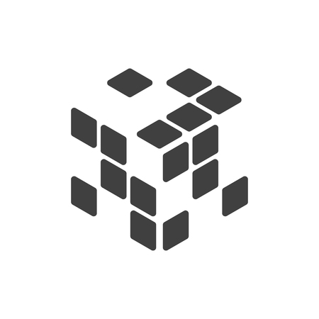 Logo of the rubik cube with empty cells. Vector illustration on white background