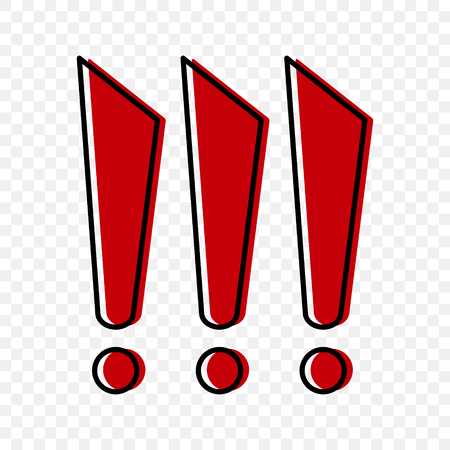 Three red exclamation marks in cartoon style. Vector illustration on a transparent background