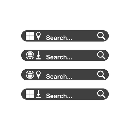 Set the searchable panels of your choice. A template for searching the Internet and a mobile application. Advanced functionality. Vector on white background