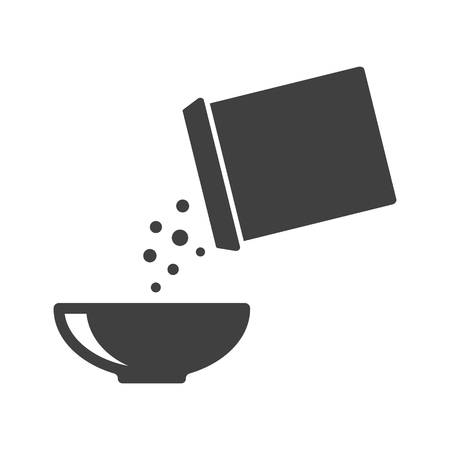 Icon of breakfast. Flakes fall out of the box into a bowl. Vector illustration on white background