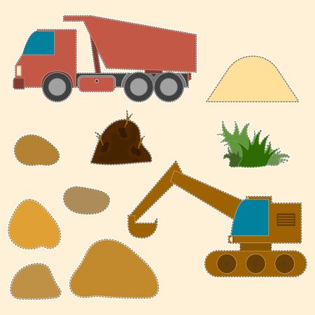 Ilustración infantil para la creatividad. Excavadora y dumper con diversos suelos de carga, arena y piedras. Dibujos de cartón con posibilidad de corte. Vector