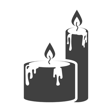 Icon of two candles standing next to each other with wax stains. Vector on white background Stock Illustratie