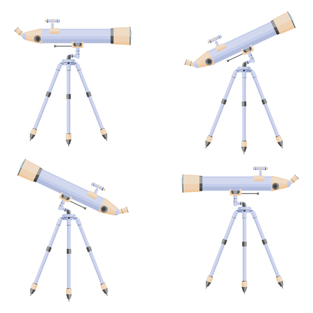 Illustration of a telescope directed in different directions. A set of four drawings. Vector on white background