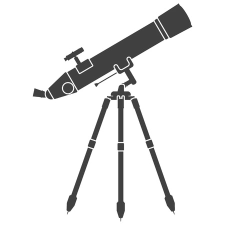 Icon telescope aimed at the stars. Vector on white background Çizim
