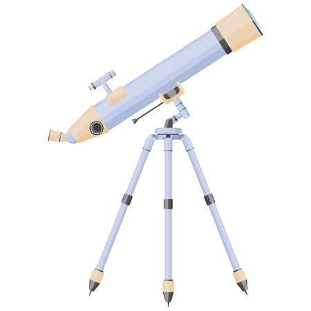 Illustration of a telescope aimed at the stars. Vector on white background