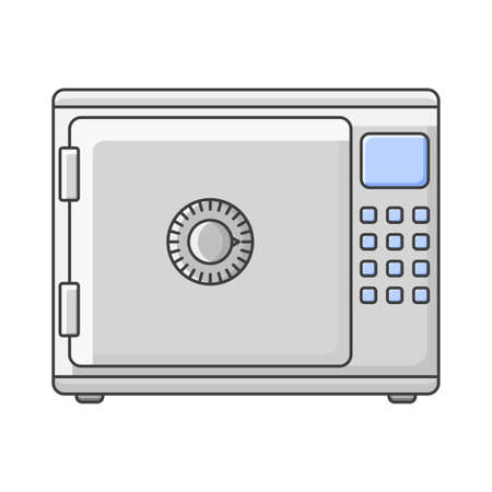 Safe icon for storage of securities and documents. Vector illustration on white background Иллюстрация