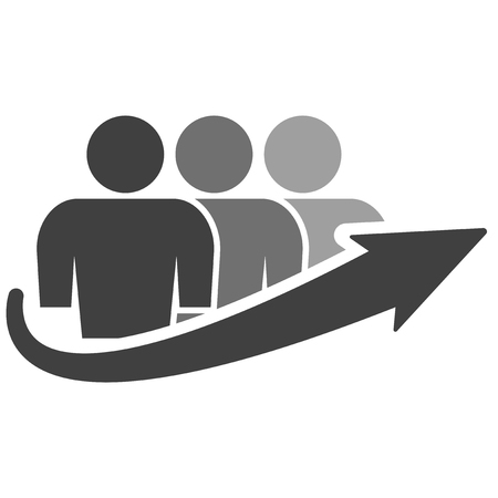 Icon of a group of people of three people and an arrow of growth. Vector on white background Иллюстрация