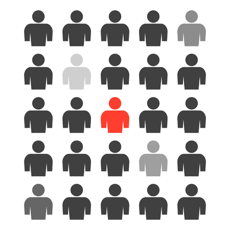 The icon of a group of people with different degrees of selection of several persons from the total mass and one person highlighted in red. Vector illustration on white background