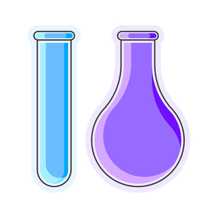 Icon flask and test tube. Drawing with stroke. Isolated vector illustration on white background