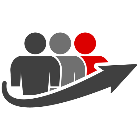 Icon of a group of people of three people and an arrow of growth. The last person in the queue is highlighted in red. Vector on white background