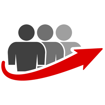 Icon of a group of people of three people and an arrow of growth. Red arrow growth. Vector on white background Иллюстрация
