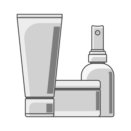 Icon tube, cans and bottle. Black and white performance. A tube in the foreground. Isolated vector on white background Иллюстрация