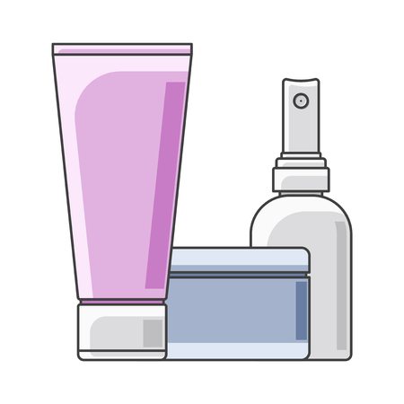 Icon tube, cans and bottle. Multi-colored execution. A tube in the foreground. Isolated vector on white background Иллюстрация