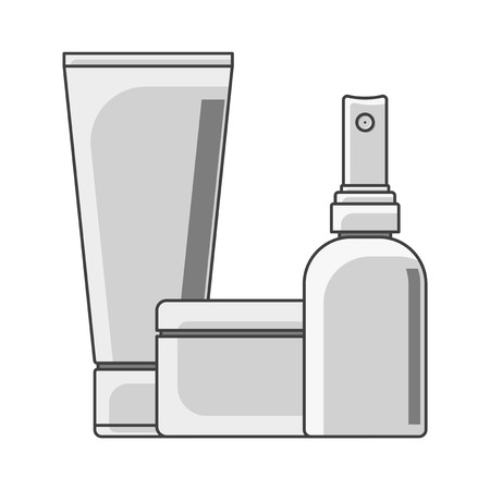 Icon tube, cans and bottle. Black and white performance. Spray bottle in the foreground. Isolated vector on white background