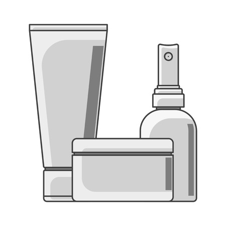 Icon tube, cans and bottle. Black and white performance. Jar in the foreground. Isolated vector on white background