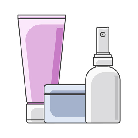 Icon tube, cans and bottle. Multi-colored execution. Spray bottle in the foreground. Isolated vector on white background