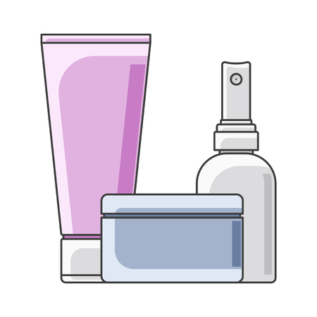 Icon tube, cans and bottle. Multi-colored execution. Jar in the foreground. Isolated vector on white background