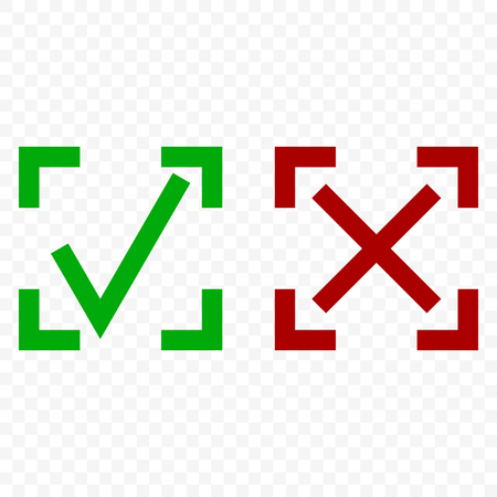 Icon of acceptance and rejection. Tick and cross symbol in square frame on transparent background. Isolated vector