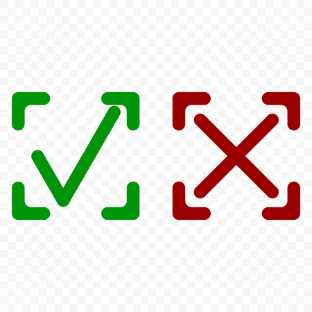 Icon of acceptance and rejection. Tick and cross symbol in square frame on transparent background. Rounded corners. Isolated vector