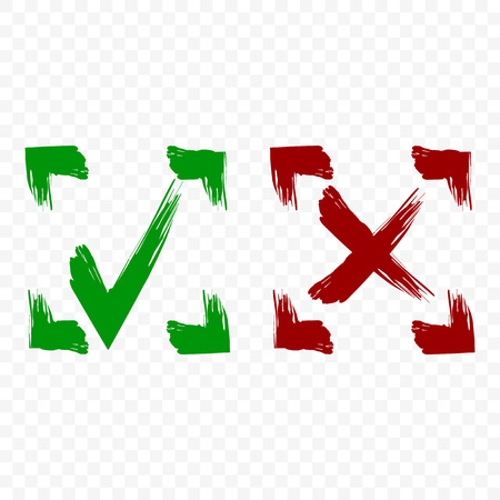 Icon of acceptance and rejection. Tick and cross symbol in square frame on transparent background. Brush strokes. Isolated vector Banque d'images - 112753393