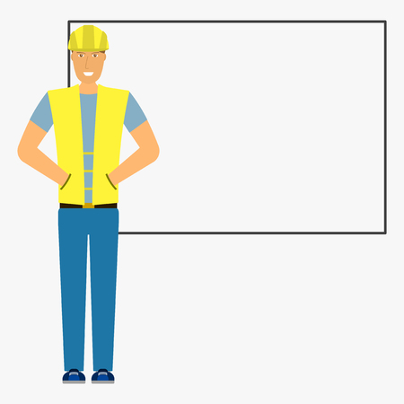Image builder on the background of the board. Isolated flat illustration on white background. Vector