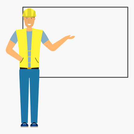Image of a builder with outstretched hand against the background of the board. Isolated flat illustration on white background. Vector