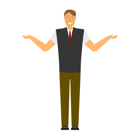 The image of a joyful man with arms outstretched on the sides. Isolated flat illustration on white background. Vector