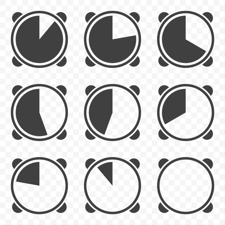 Set of timers icons on transparent background. Vector