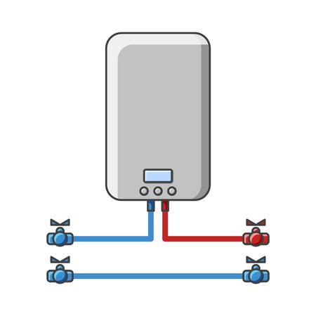 Rysunek kotła do podgrzewania wody w sieci wodociągowej. Ilustracja wektorowa na białym tle. Odosobniony Ilustracje wektorowe