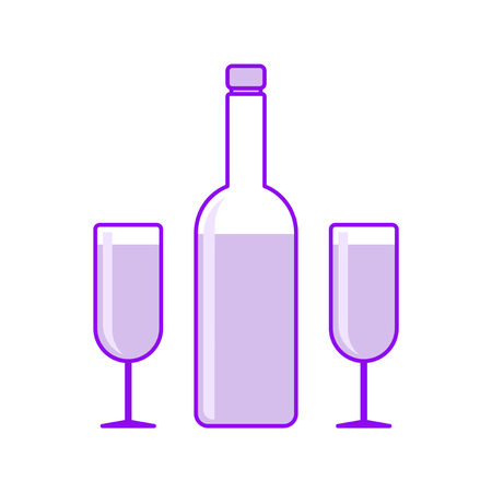 Icon wine bottle with two wineglass. Vector illustration on white background Ilustrace