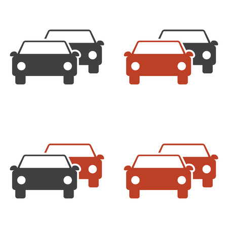 Set of car icons following each other. Highlight cars in red. Vector on white background Иллюстрация