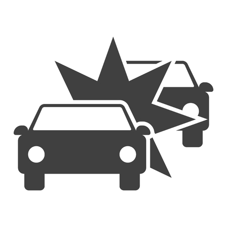 Icon crash two cars. Vector on white background