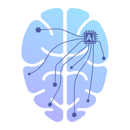 The human brain icon under the control of artificial intelligence. Isolated vector illustration on white background Vectores