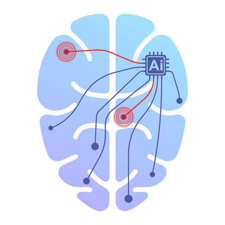 Icon of a human brain running by artificial intelligence. Impact on certain points by impulse. Isolated vector illustration on white background Foto de archivo - 114502532