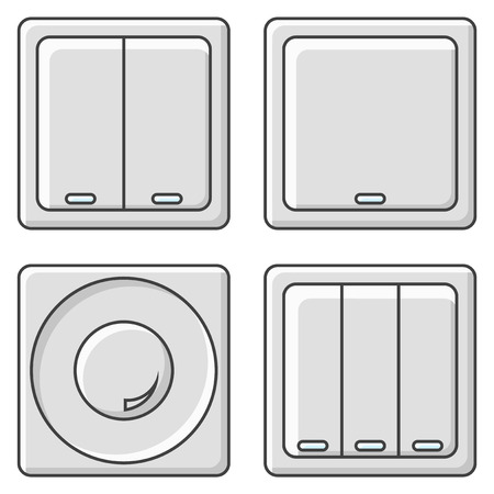 A set of four switches of various types. Vector illustration on white background