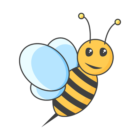 Icon bee. Vector illustration on white background