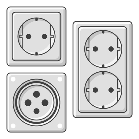 A set of sockets. Vector illustration on white background