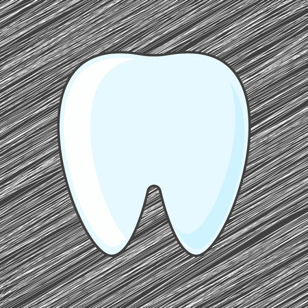 Tooth icon. Vector illustration on shaded background