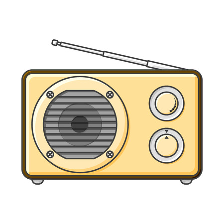 Analog radio icon with a large speaker and signal and sound adjustment knobs. Vector illustration on white background
